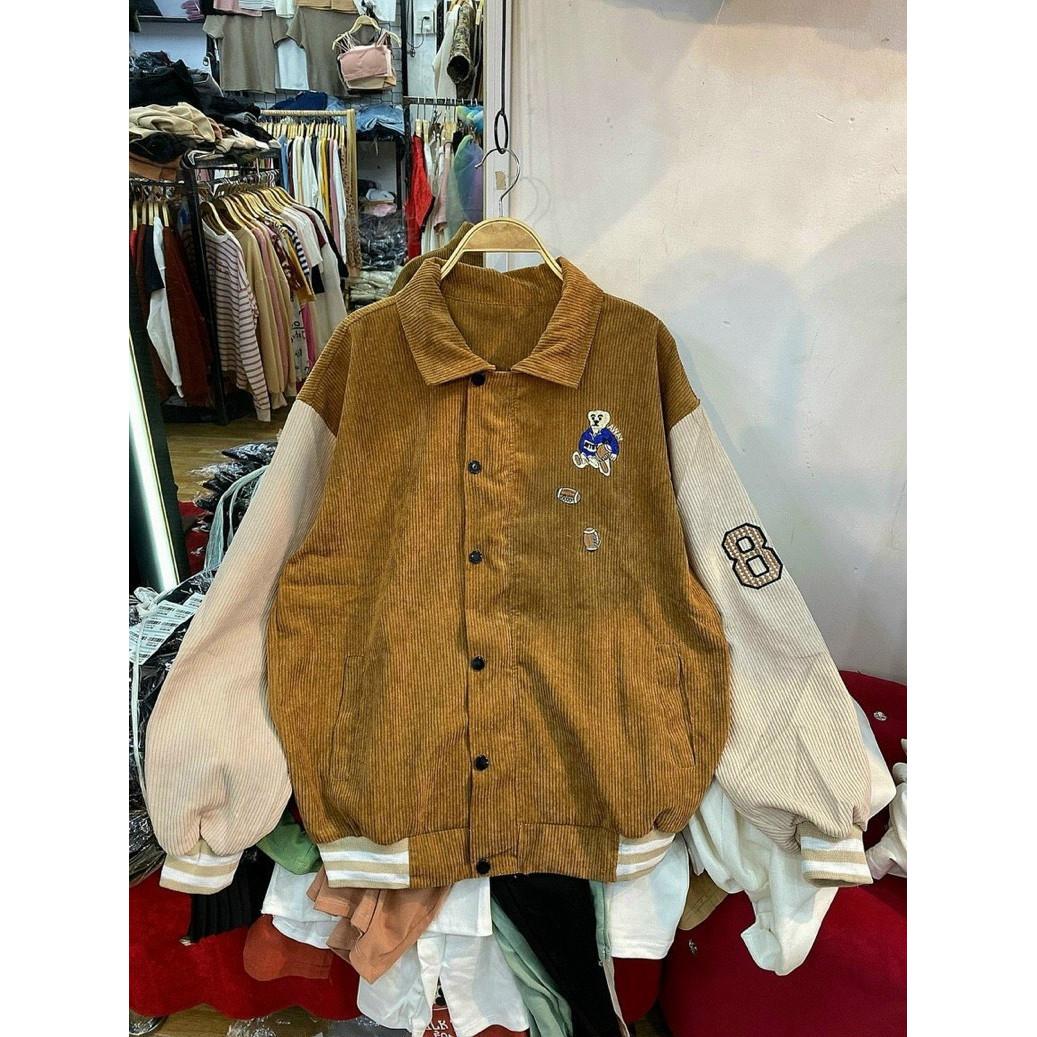 áo khoác nhung cổ sơ mi, áo khoác bomber nhung, áo khoác nhung, áo nhung