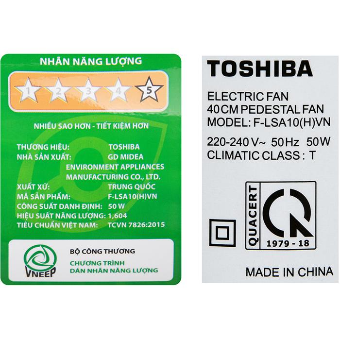 Quạt đứng Toshiba F-LSA10(H)VN (50W) - Xám - Hàng chính hãng
