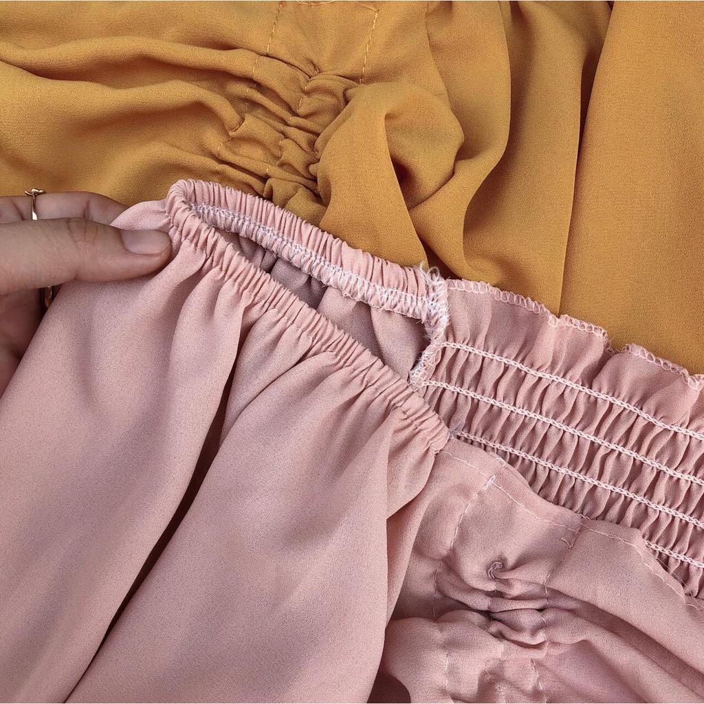 Áo dây rút 2 bên eo - vải voan - kèm ảnh thật