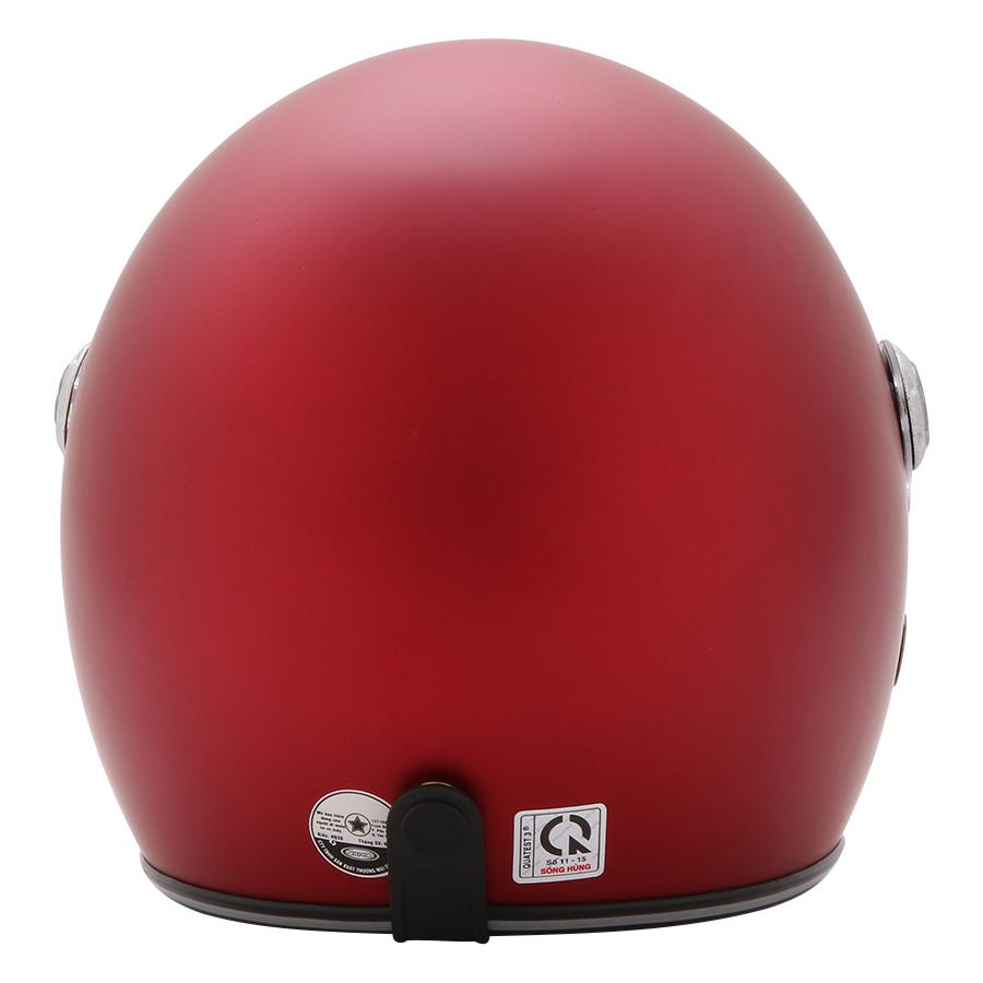 Mũ Bảo Hiểm 3/4 Đầu Napoli N099 Có Kính Màu Đỏ Đô - Kính Trong