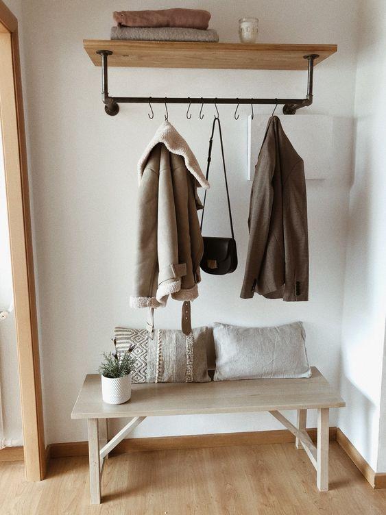 Kệ ống nước Kệ treo gắn tường kiêm giá treo quần áo chất liệu ống nước và gỗ trang trí nhà decor quán cafe