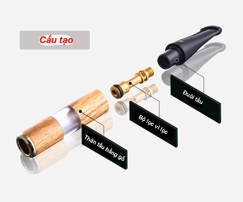 Tẩu lọc thuốc bằng gỗ cao cấp ZB-267 (Giao Màu Ngẫu Nhiên)