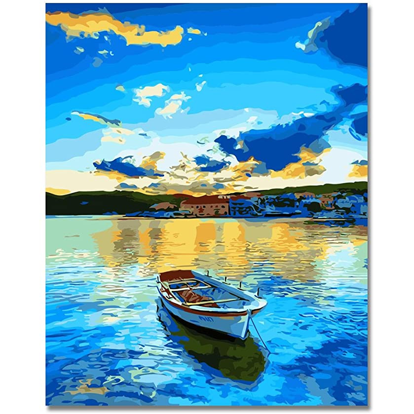Tranh tô màu sơn dầu theo số Chiếc Thuyền Ngoài Biển