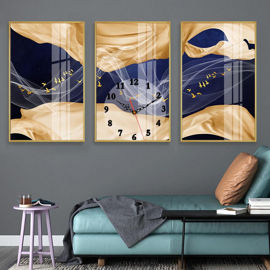 Tranh treo tường, tranh đồng hồ NT209 bộ 3 tấm ghép