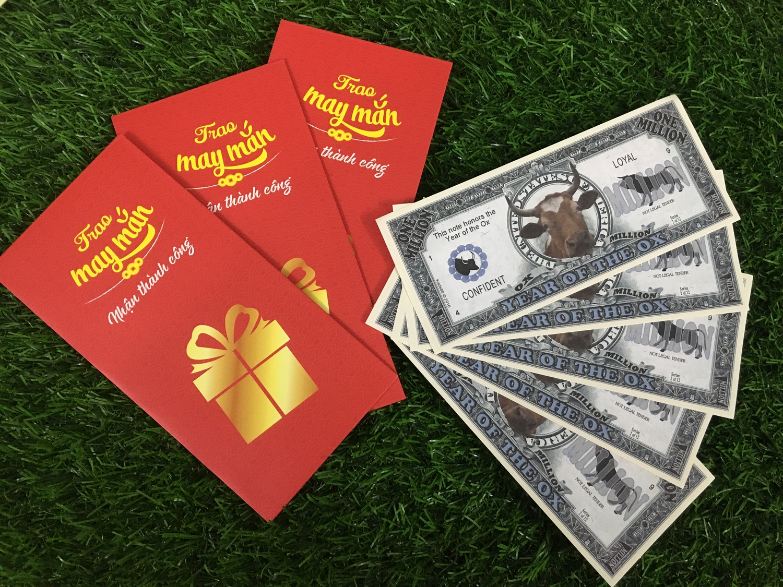 COMBO 10 TỜ 1 triệu usd hình con trâu của Mỹ lưu niệm lì xì Tết, tặng kèm bao lì xì - The Merrick Mint