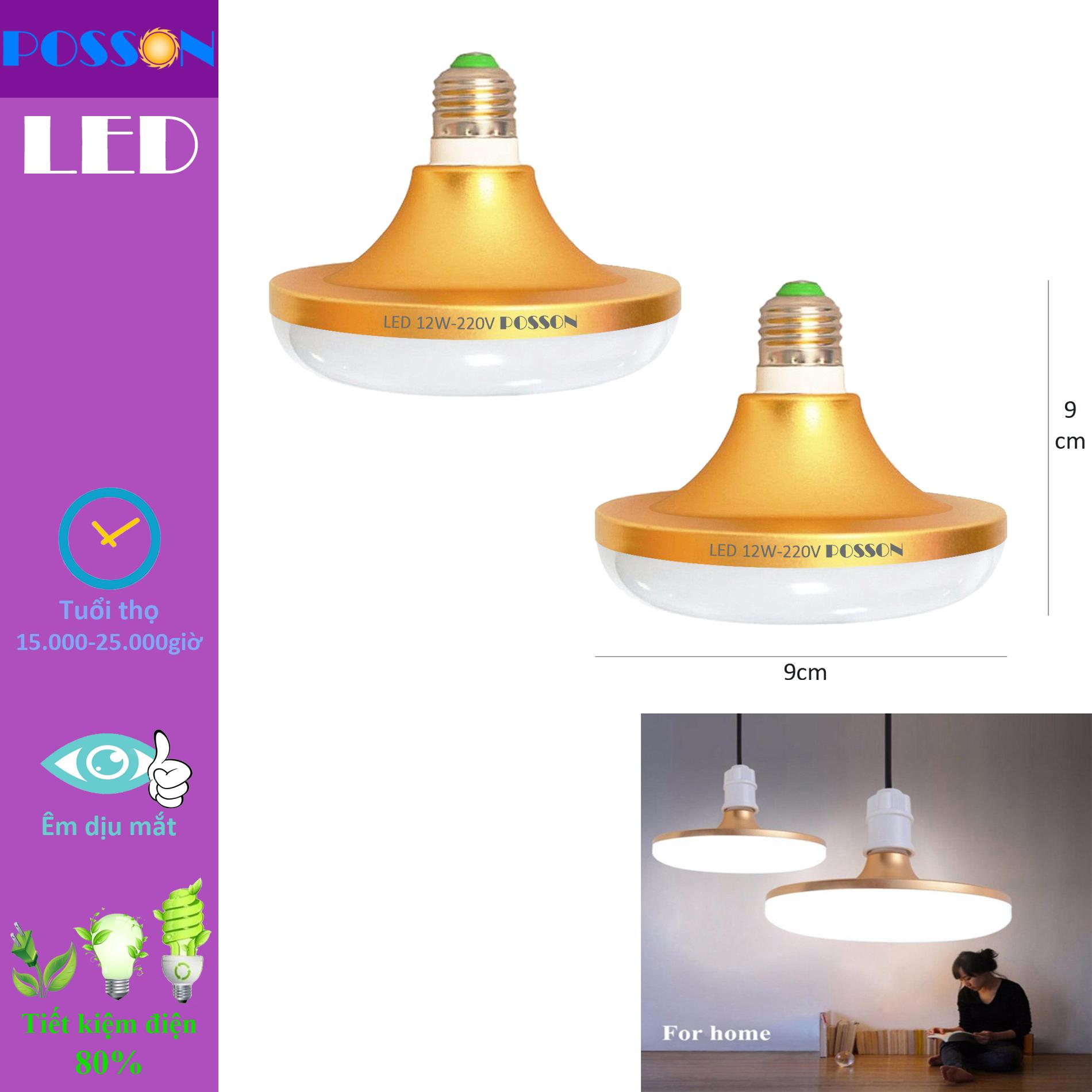 2 Bóng đèn Led 12w UFO tiết kiệm điện sáng trắng Posson L-UFO12