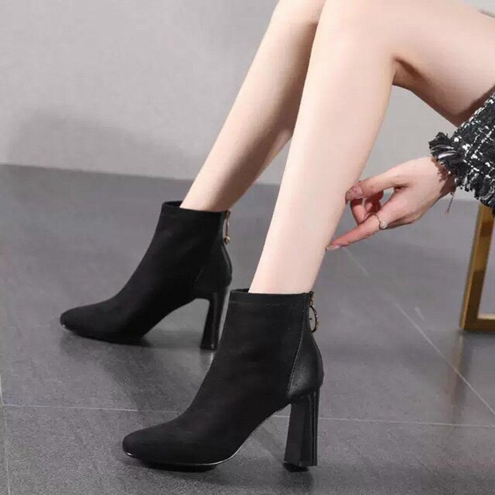 Boots Nữ Cổ Thấp Da Lộn Khoá 5G Cách Điệu Kèm Tất Gấu Siêu Xinh
