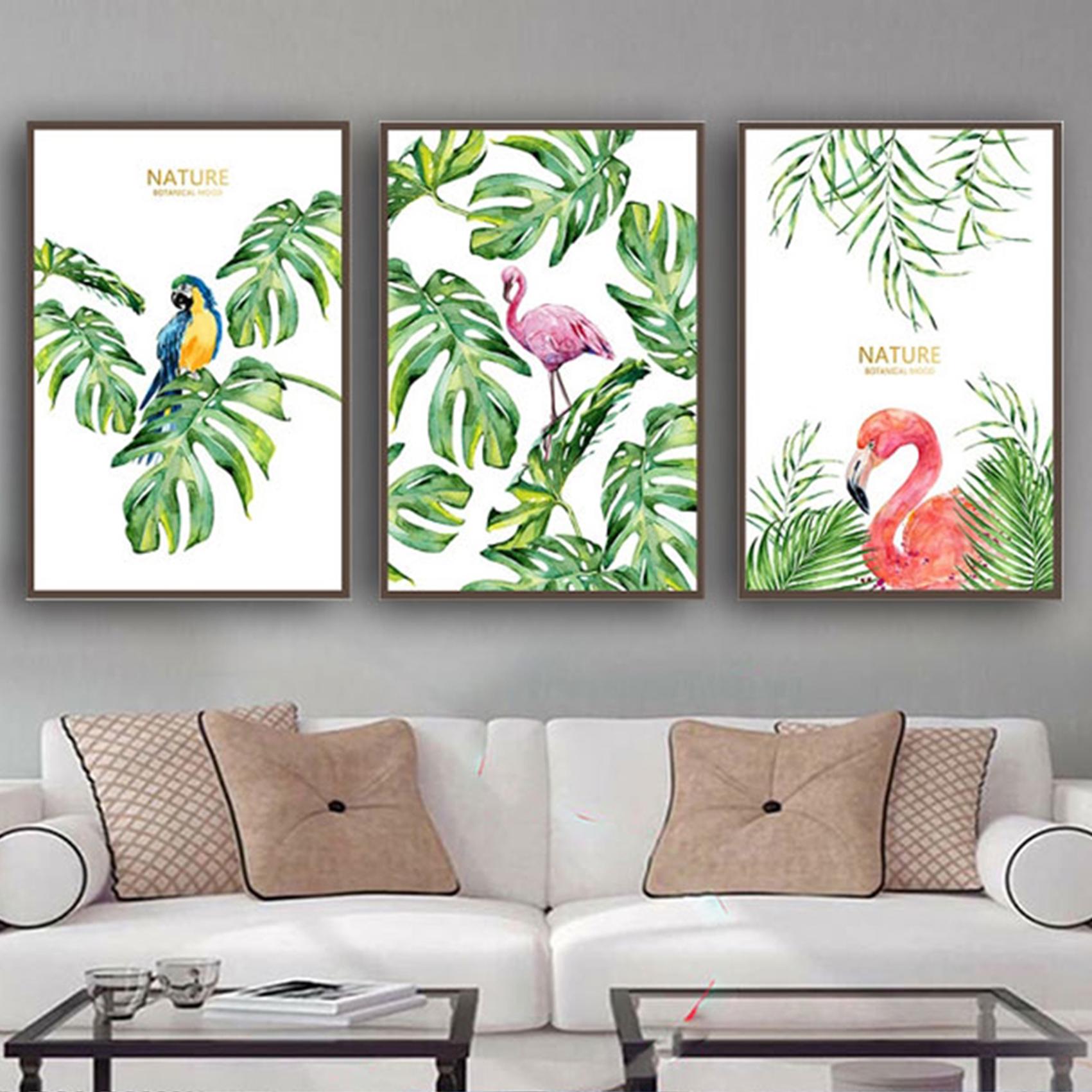 Tranh Canvas Treo Tường Hiện Đại _ Tranh Bộ 3 Chim Và Hoa Đẹp
