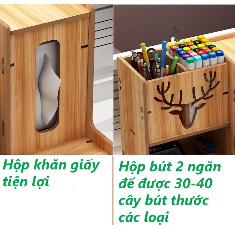 Hộp đựng bút để bàn, kệ hồ sơ, kệ văn phòng kèm hộp khăn giấy bằng gỗ HV11 - Tặng kèm 1 móc khóa khung hình thời trang