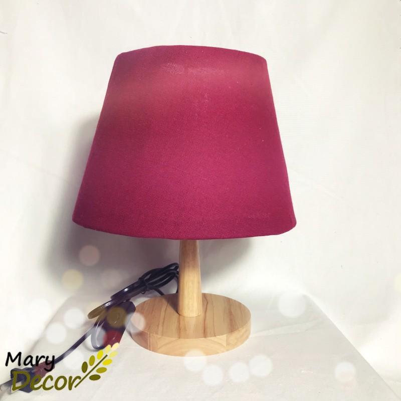 Đèn ngủ để bàn kết hợp đèn ngủ đầu giường chao vải canvas vintage, chân gỗ trang trí Hàn Quốc - Đỏ - DB-Y02 ( tặng kèm bóng)