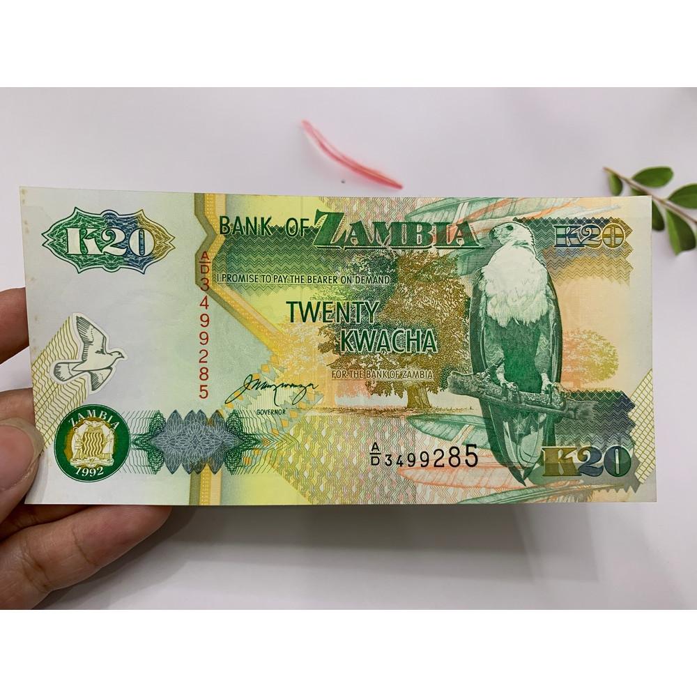 Tờ tiền Zambia cổ 20 Kwacha hình con chim - ở châu Phi - tặng phơi nylon bảo quản tiền