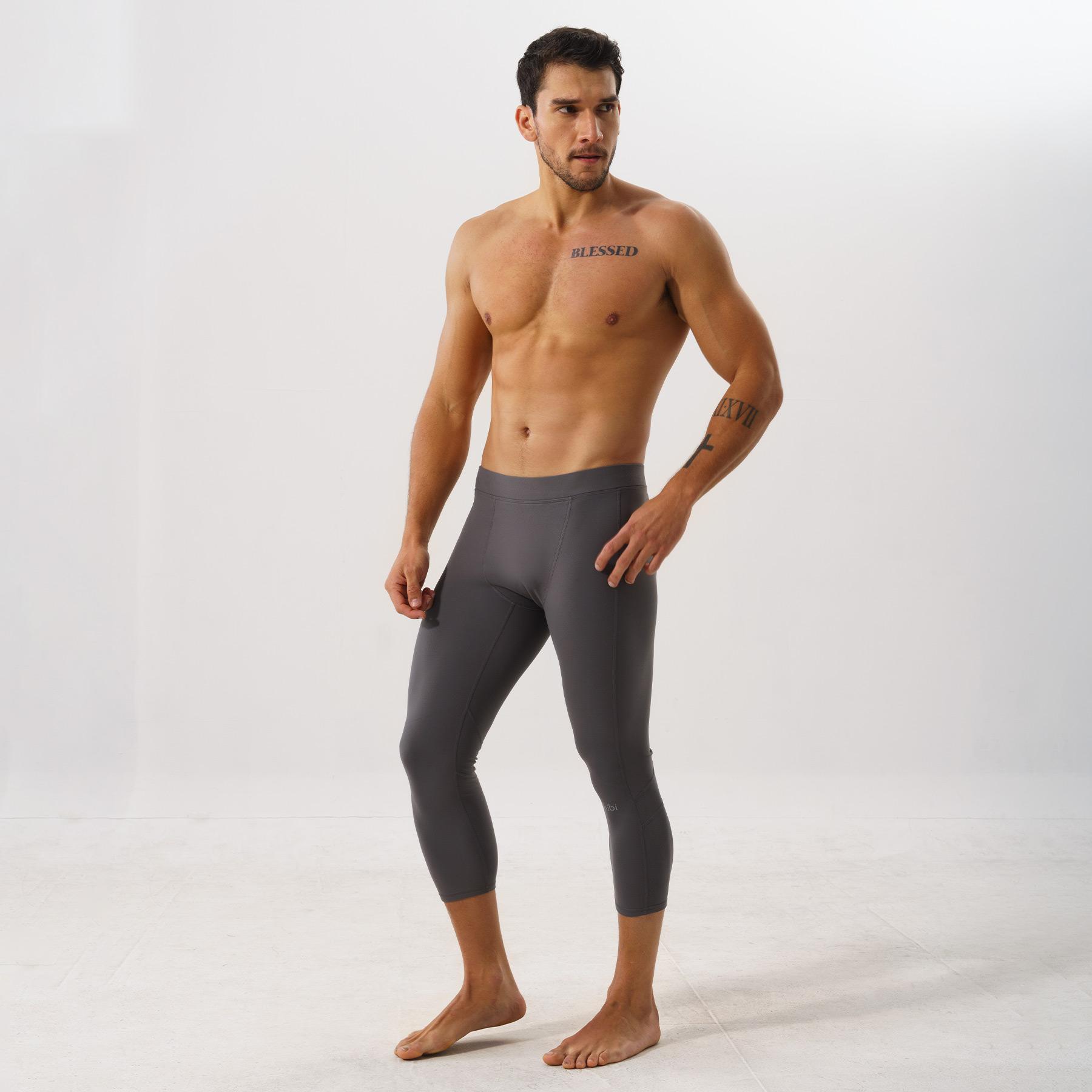 Quần leggings tập gym cho nam Hibi Sports M104 - Loại lửng 3/4 không túi