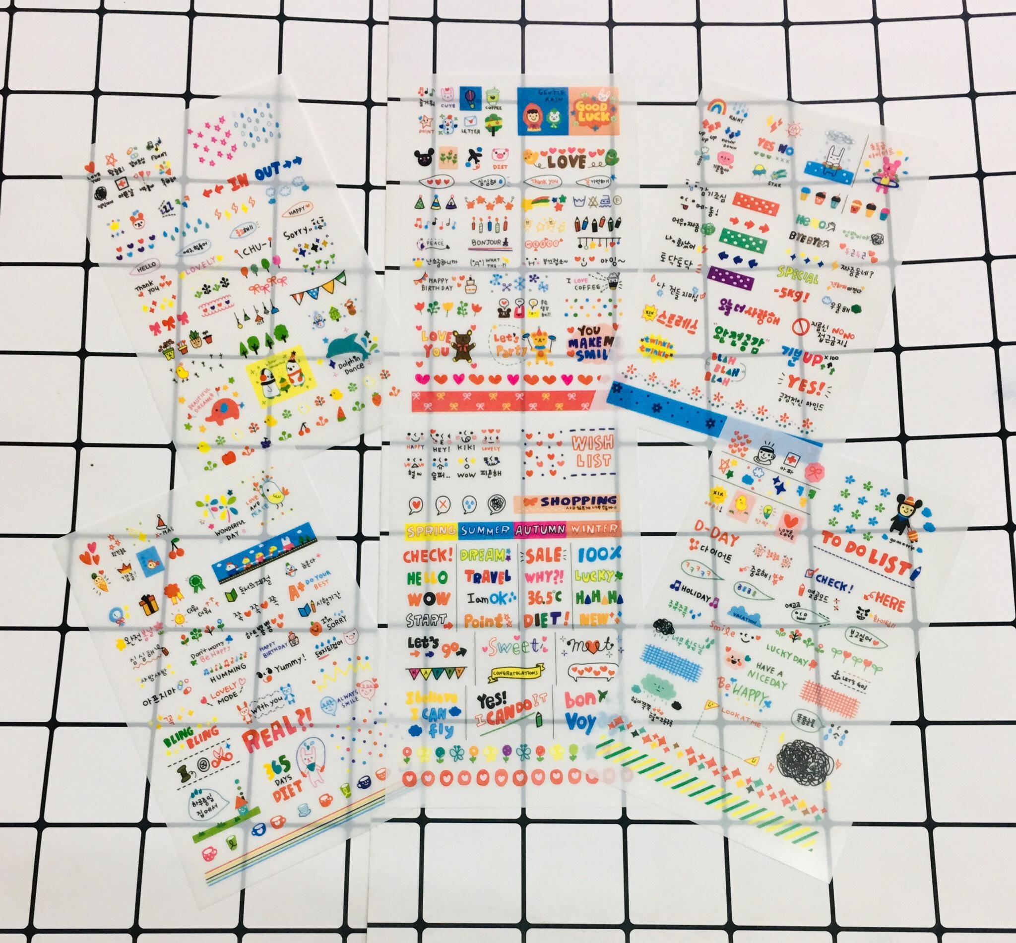 Combo 6 bảng sticker dán ngộ trong suốt ngẫu nhiên loại to