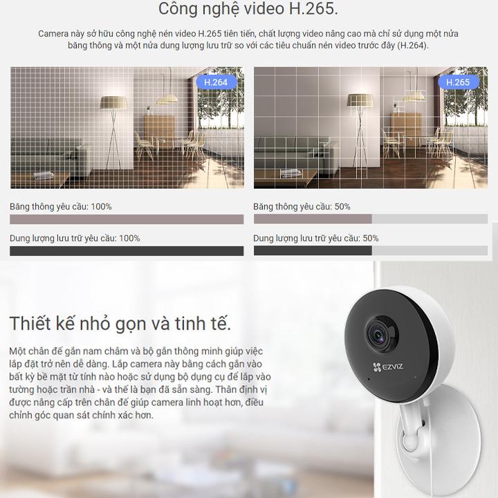 Camera wifi Ezviz mini CS-C1C-B Full HD 1080P Chính hãng chuẩn nén H265 mới , Đàm Thoại 2 Chiều Tích Hợp Chế Độ Nhà Thông Minh - Hàng Chính Hãng