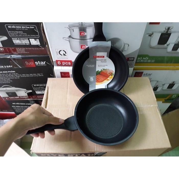 Chảo chống dính 3 đáy inox 430 Fivestar Standard bếp từ ( 16cm /20cm / 22cm/ 24cm /26cm /28cm )