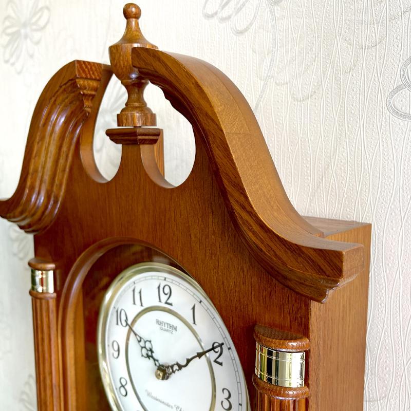 Đồng hồ treo tường Nhật Bản Rhythm CMJ303ER06 - Kt 34.0 x 74.0 x 11.4cm, 4.8kg Vỏ gỗ