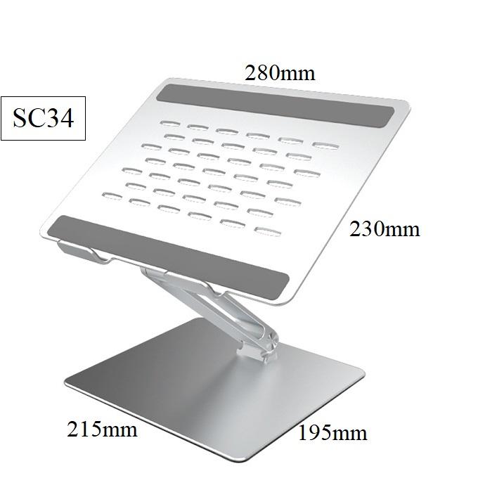 Đế nâng laptop một chân sang trọng bằng hợp kim nhôm nguyên khối chống mỏi cổ vay gáy SC34 Vu Studio - Hàng chính hãng