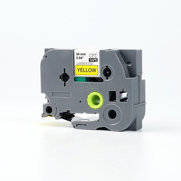 Tape nhãn in tương thích CPT-651 dùng cho máy in nhãn Brother P-Touch (chữ đen nền vàng, 24mm)