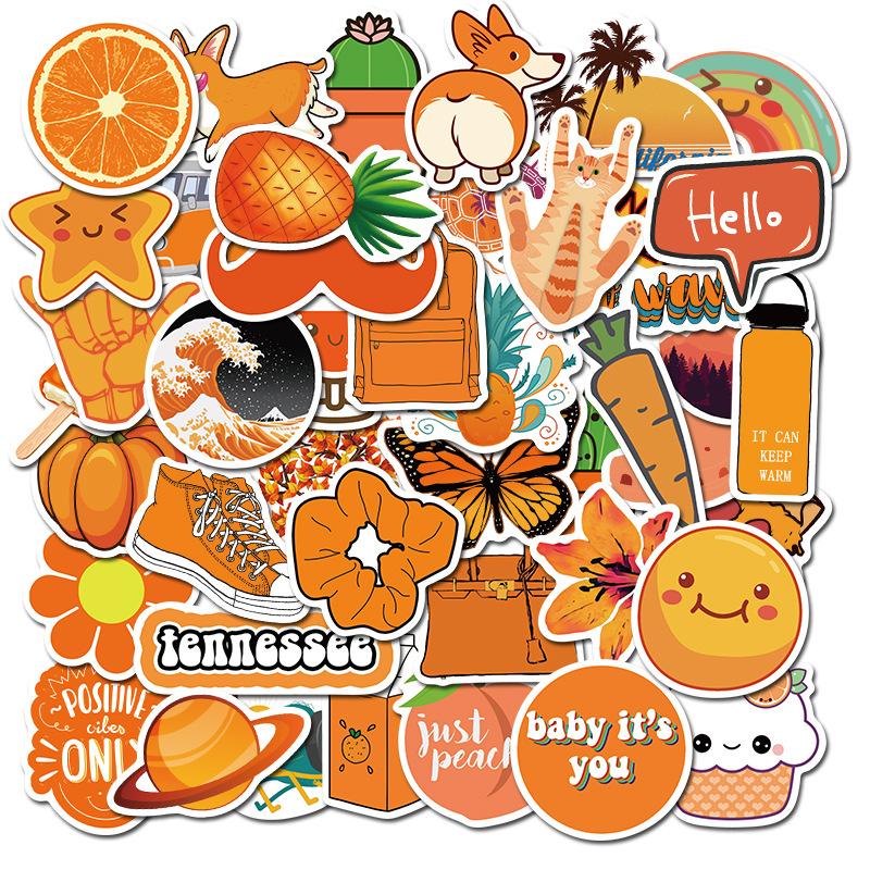 Sticker 50 miếng hình dán Orange Stub - hàng nhập khẩu