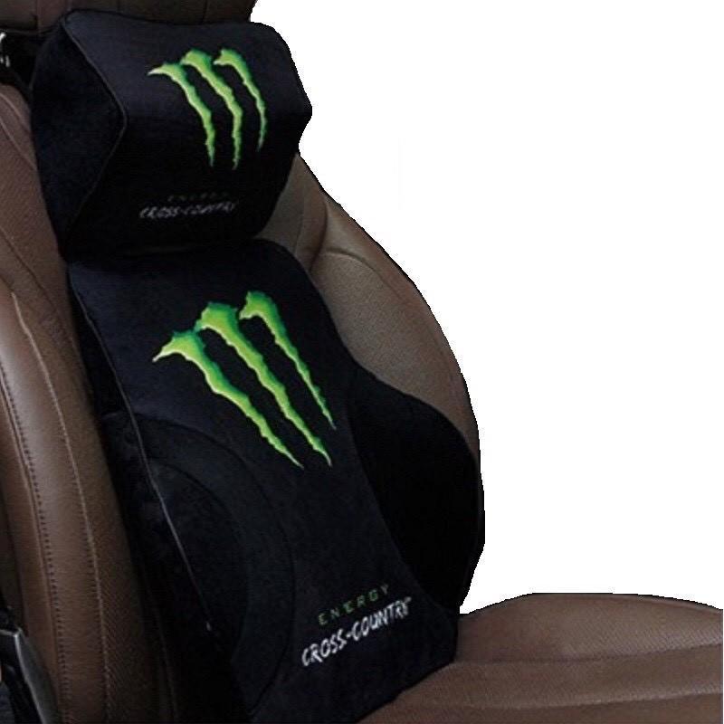 Tựa đầu và tựa lưng ghế ô tô cao su non 3D chất vải nhung