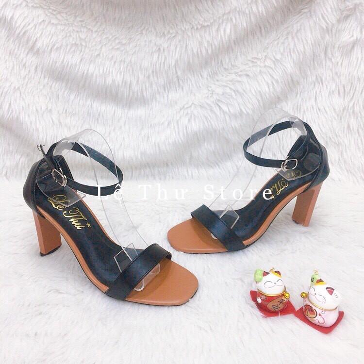 Giày cao gót 9 phân 2 màu bản ngang gót bò LT (SD081)