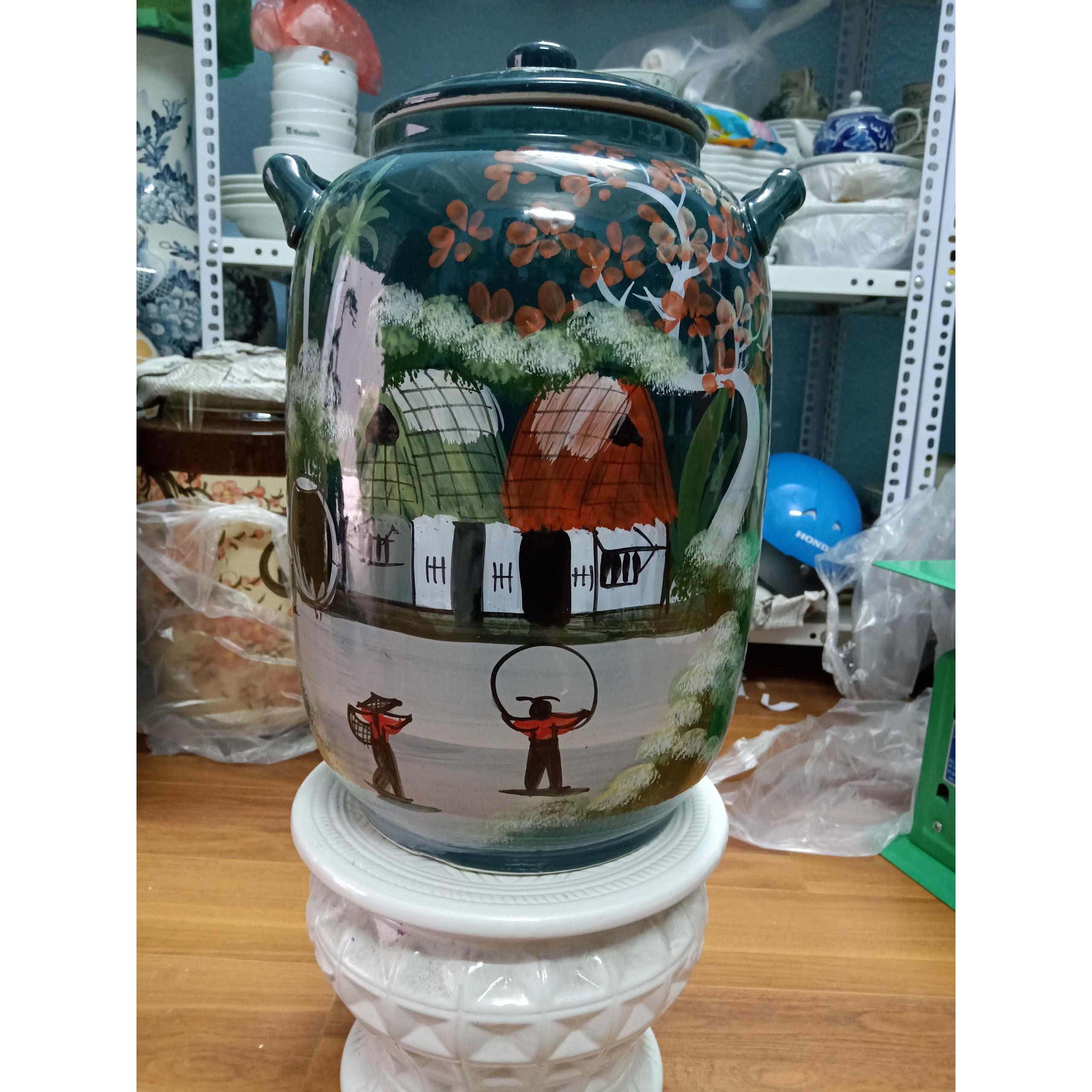 Hũ đựng gạo Bát Tràng vẽ phong cảnh màu xanh loại 20L ( 15Kg gạo)