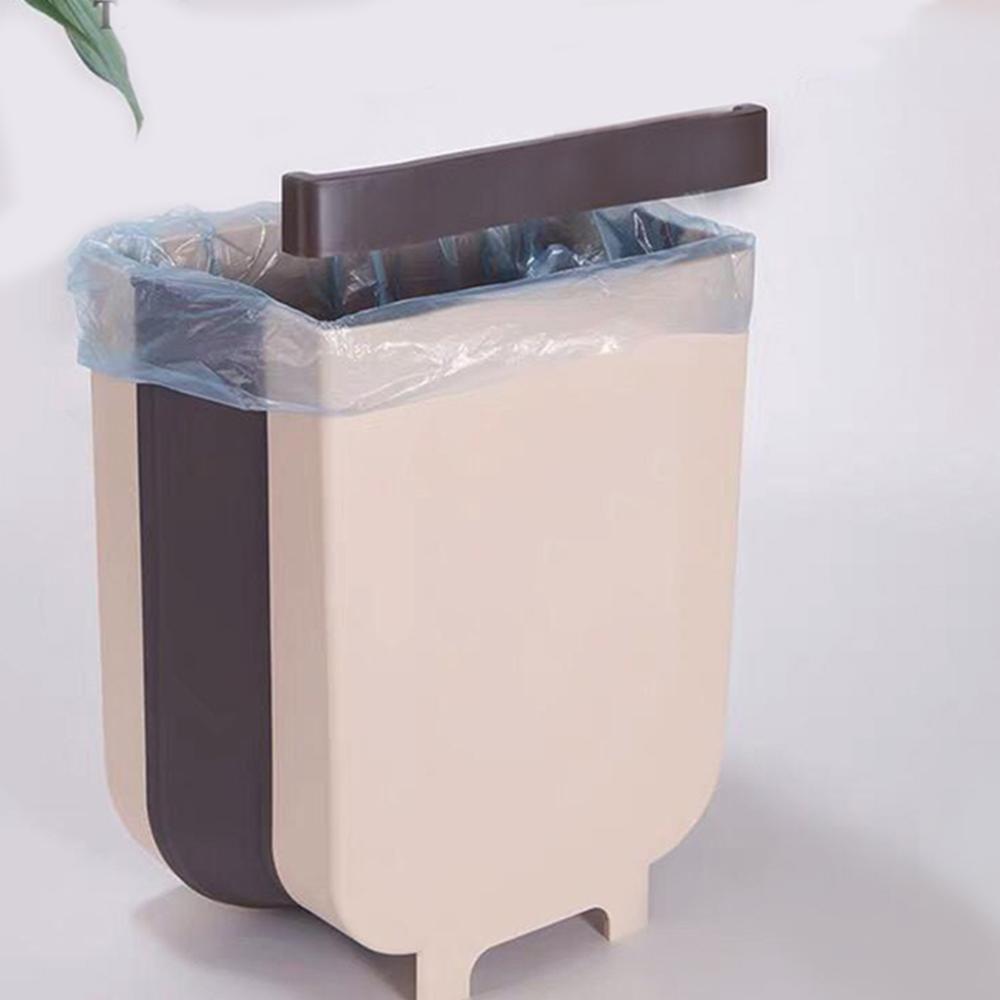 Thùng Rác Mini Gấp Gọn Chất Liệu Nhựa PP Tiết Kiệm Không Gian Có Móc Cài 2 Màu Lựa Chọn