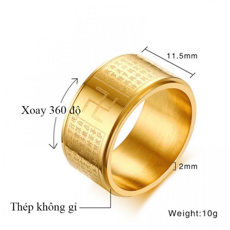 Nhẫn xoay Bát Nhã Tâm Kinh khắc chữ Vạn - Nhẫn phong thủy Hán ngữ may mắn bình an TTB-Ri89 3