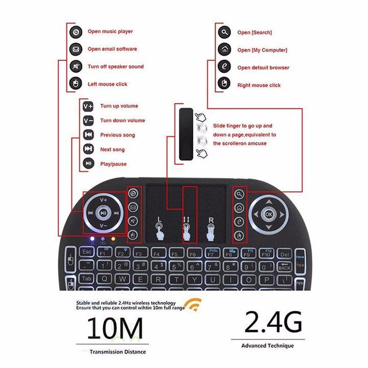Bàn phím mini phiên bản mới đèn nền đổi mầu cho Smart TV, TV Box, Laptop có touchpad, pin sạc