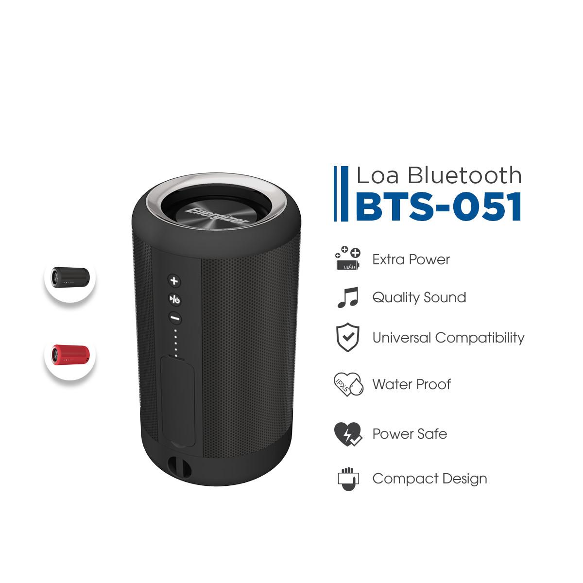 Loa Bluetooth kèm pin sạc dự phòng Energizer BTS-051, dung lượng 2,000mAh, chống nước theo tiêu chuẩn IPX5, hỗ trợ thẻ micro SD, AUX - Hàng chính hãng