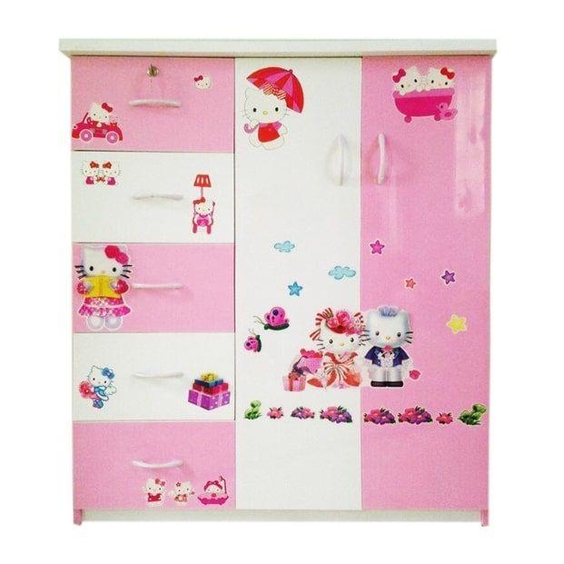 Tủ nhựa Jang Mi TE 02 125 x 106 x 45 cm (Hồng)