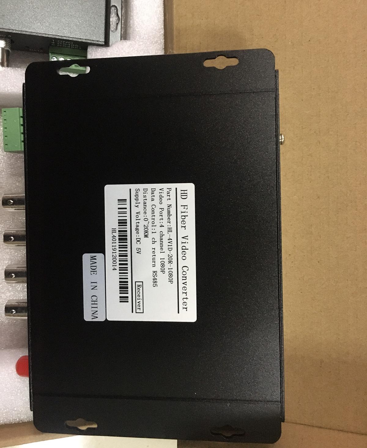 Bộ chuyển đổi video sang quang 4 kênh GNETCOM HL-4V1D-20T/R-1080P (2 thiết bị,2 adapter,Cổng điều khiển) - Hàng Chính Hãng