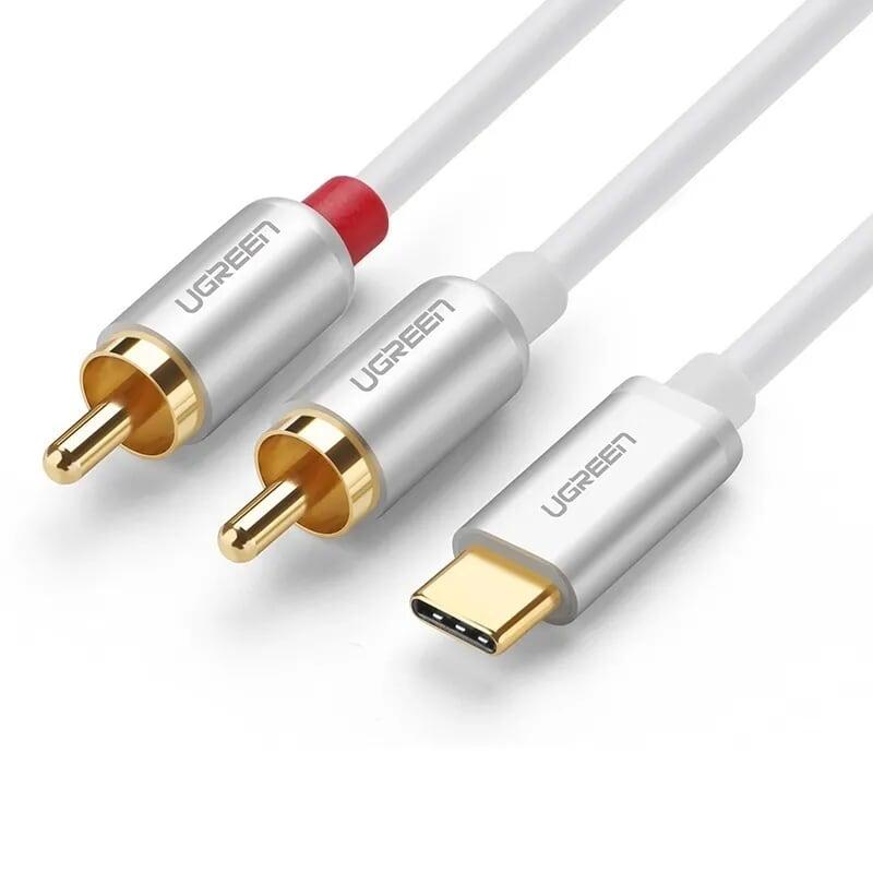 Cáp chuyển đổi Type C sang RCA Audio cao cấp 1.5M màu Trắng Ugreen UC30735AV145 Hàng chính hãng