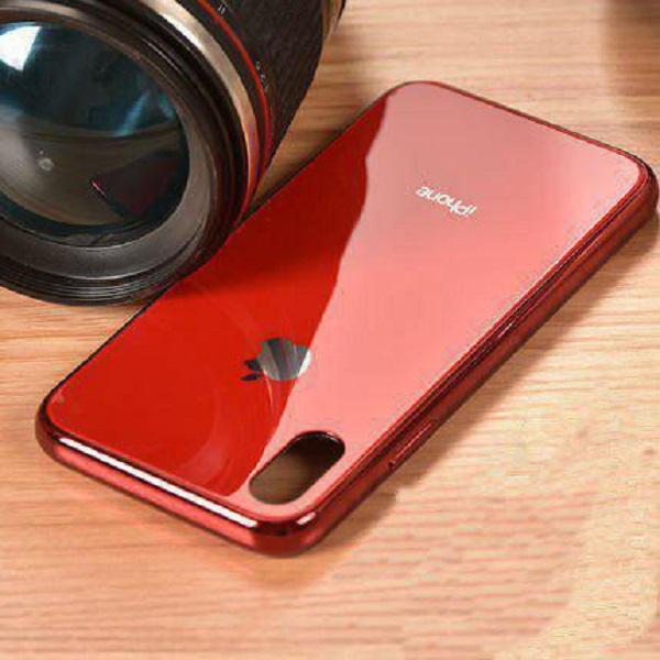 Ốp Giả Kính Viền Xi Dành Cho Iphone - Đỏ - Iphone X