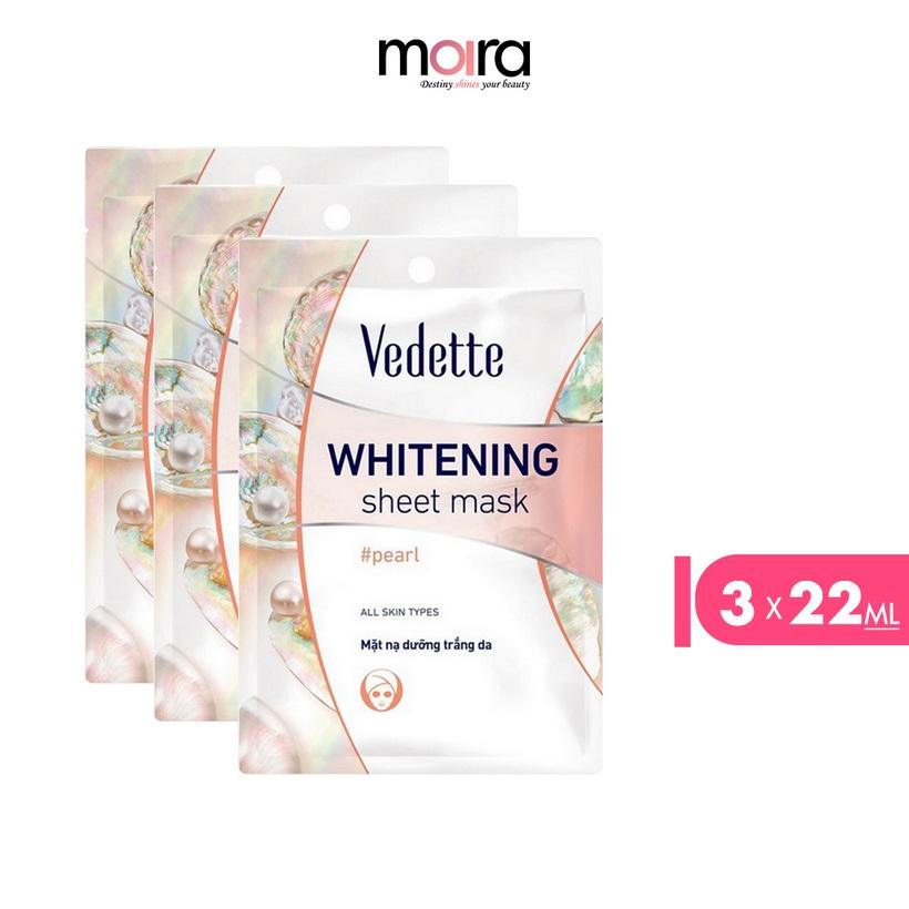 Combo 3 Mặt nạ giấy dưỡng trắng da Ngọc trai Vedette 22ml