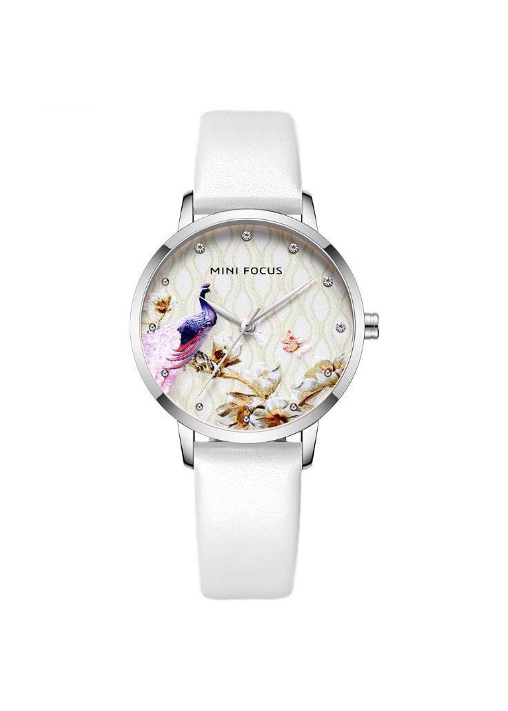 Đồng Hồ Nữ Dây Da thời trang trẻ trung MINI FOCUS mặt chim Phượng Hoàng MF0330L fullbox, chống nước - Mặt kính Mineral đính đá, Dây da sang trọng