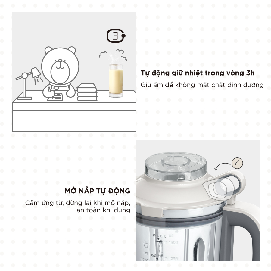 Máy Làm Sữa Hạt Bear PBJ-B10U5 TẶNG GIẮC Ổ CẮM 3 CHÂN THÀNH 2 CHÂN - Hàng Chính Hãng