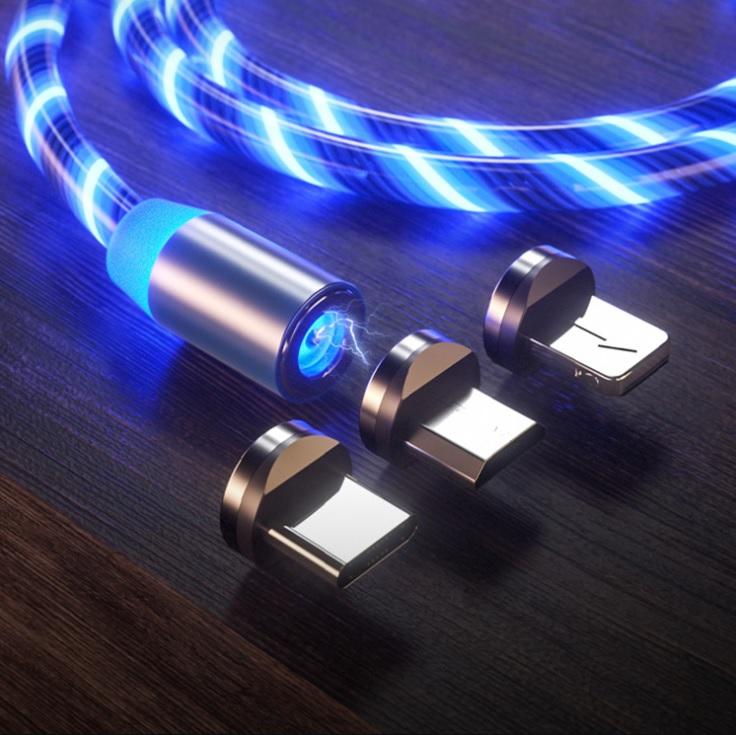 Dây sạc chuẩn kết nối Type-C phát sáng đầu nam châm hút.