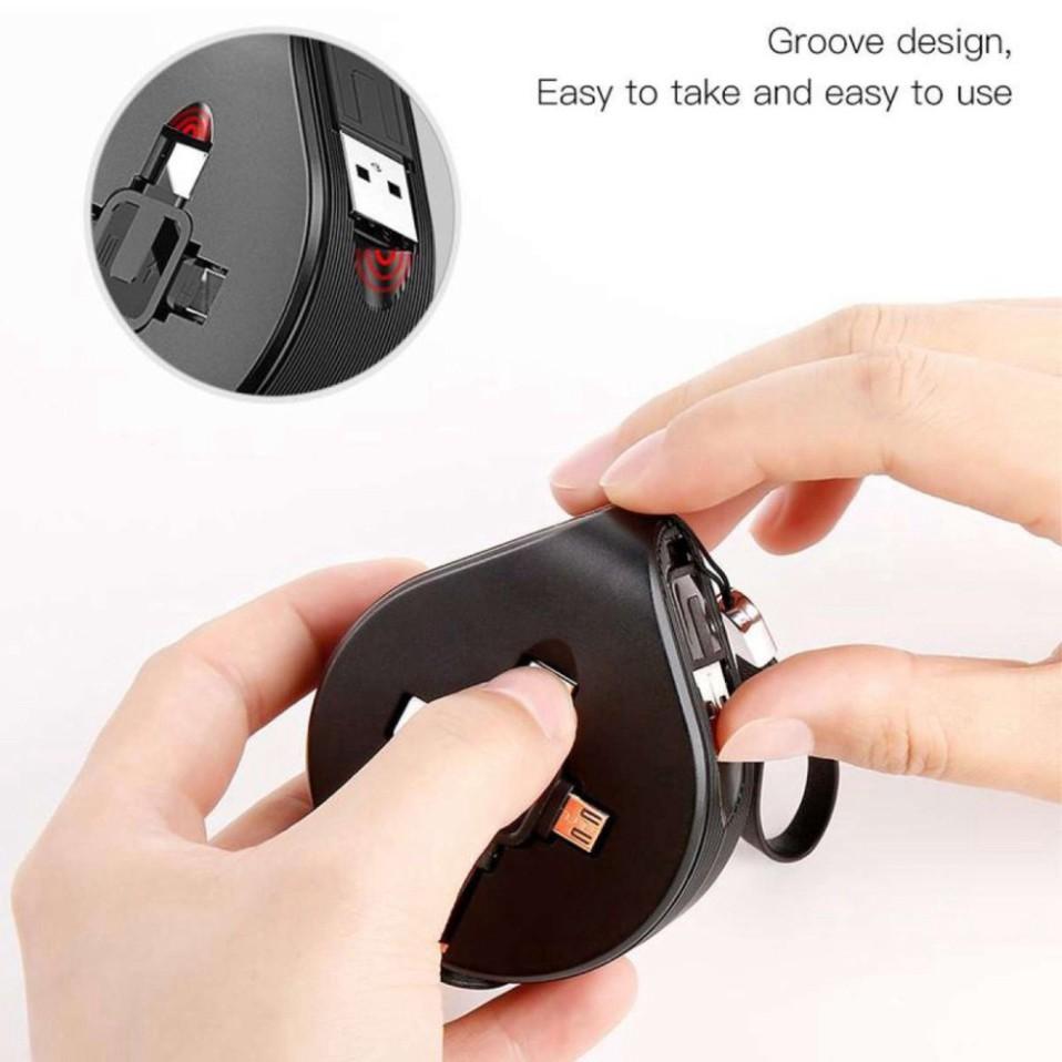 Cáp Sạc Đa Năng Siêu Bền 3 Đầu Chuẩn Micro USB, Iphone Ipad, Type C Thiết Kế Dây Rút Tiện Dụng Sạc 3 Thiết Bị Một Lúc-Hàng Chính Hãng Baseus