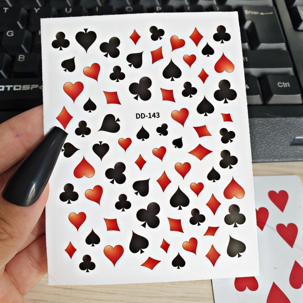 Sticker 3D bài tây dán móng 5.0 BYH125