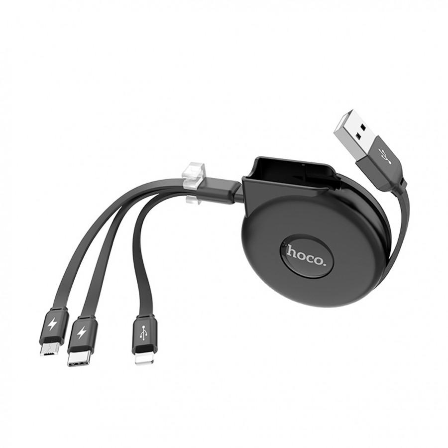 Cáp Sạc 3 Trong 1 Lightning / Micro-USB / Type-C U50 Hoco Các Khớp Nôí Hợp Kim Nhôm- Hàng Chính Hãng
