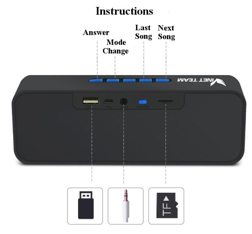 Loa bluetooth VINETTEAM SC211 Mini Hỗ trợ Jack 3.5mm,USB, Thẻ nhớ, AUX Âm Thanh Sống Động - Hàng Nhập Khẩu (màu ngẫu nhiên)