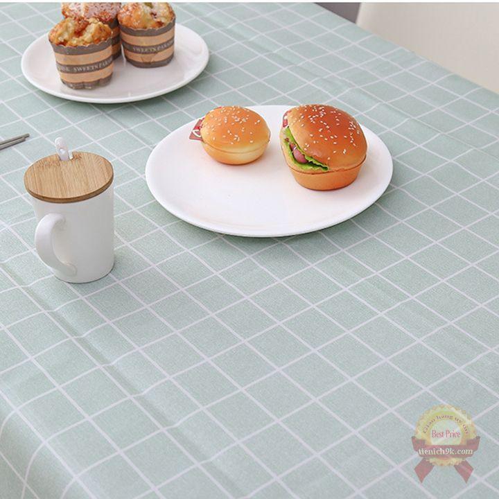 Tấm phủ chống bẩn bàn ăn họa tiết Caro sang trọng Châu Âu chống nước bụi bẩn
