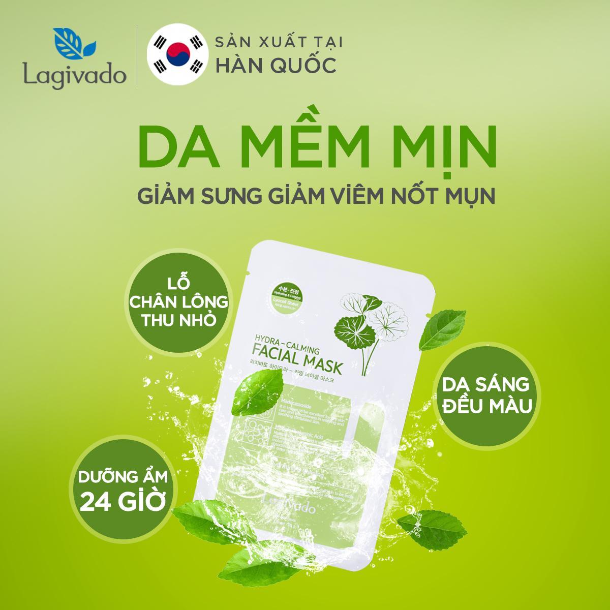 Combo 10 Mặt nạ dưỡng ẩm, trắng sáng da Hàn Quốc chính hãng Lagivado đắp mặt thư giãn, làm dịu da, cho làn da căng bóng và mềm mịn Hydra Calming Facial Mask dạng giấy