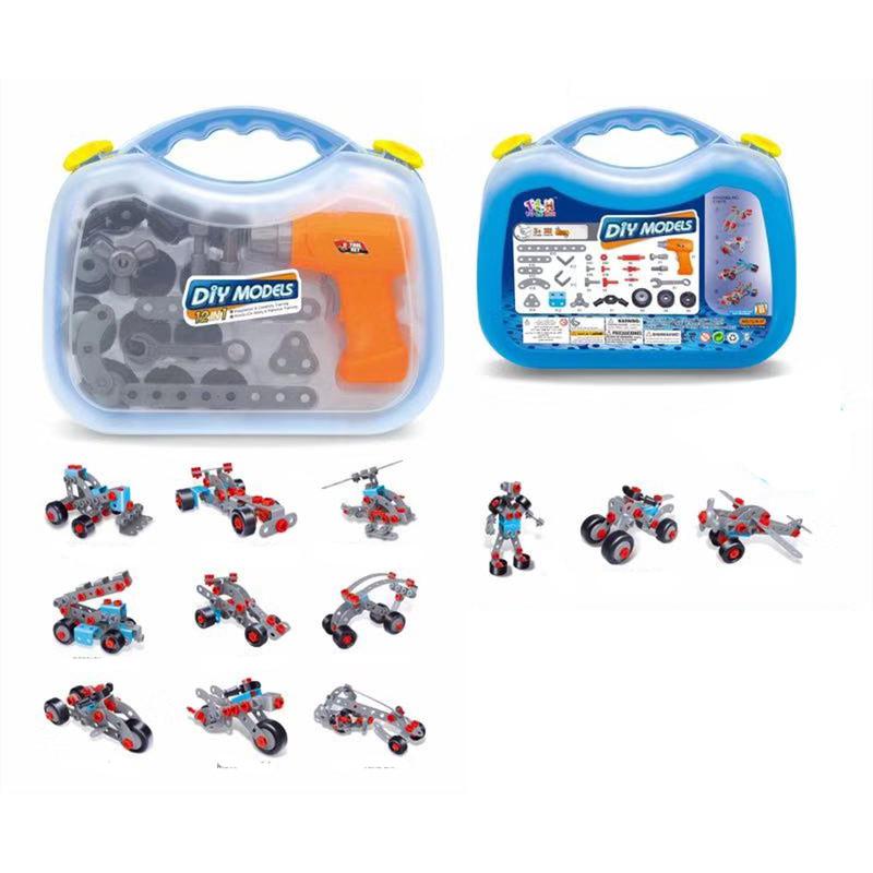 Bộ đồ chơi lắp ghép mô hình có khoan điện 282 chi tiết Toyhouse tặng xe trượt đà cho bé VBC-123-6 (ngẫu nhiên)