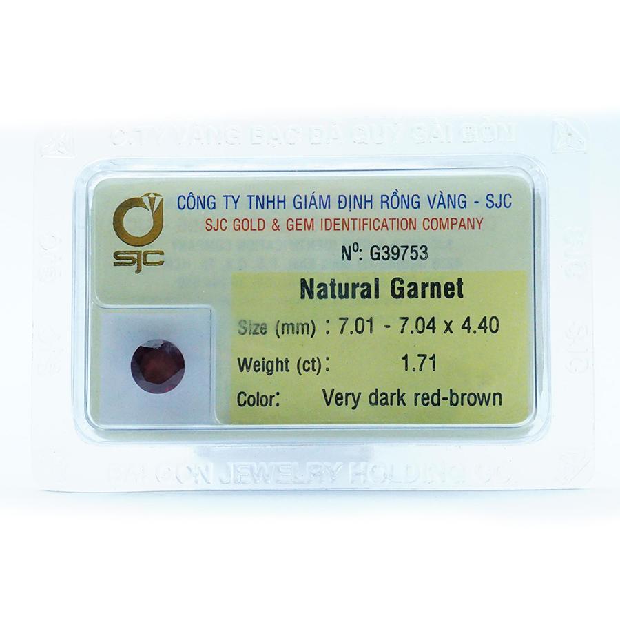 Mặt đá Garnet tự nhiên mài giác tròn kiểm định - 39753