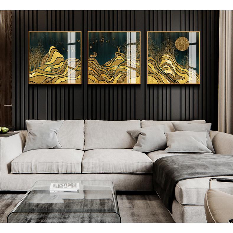 Tranh phong thuỷ Mica 3 bức Núi vàng trùng điệp trừu tượng (Sa Trung Thổ). Model: AZ3-0132