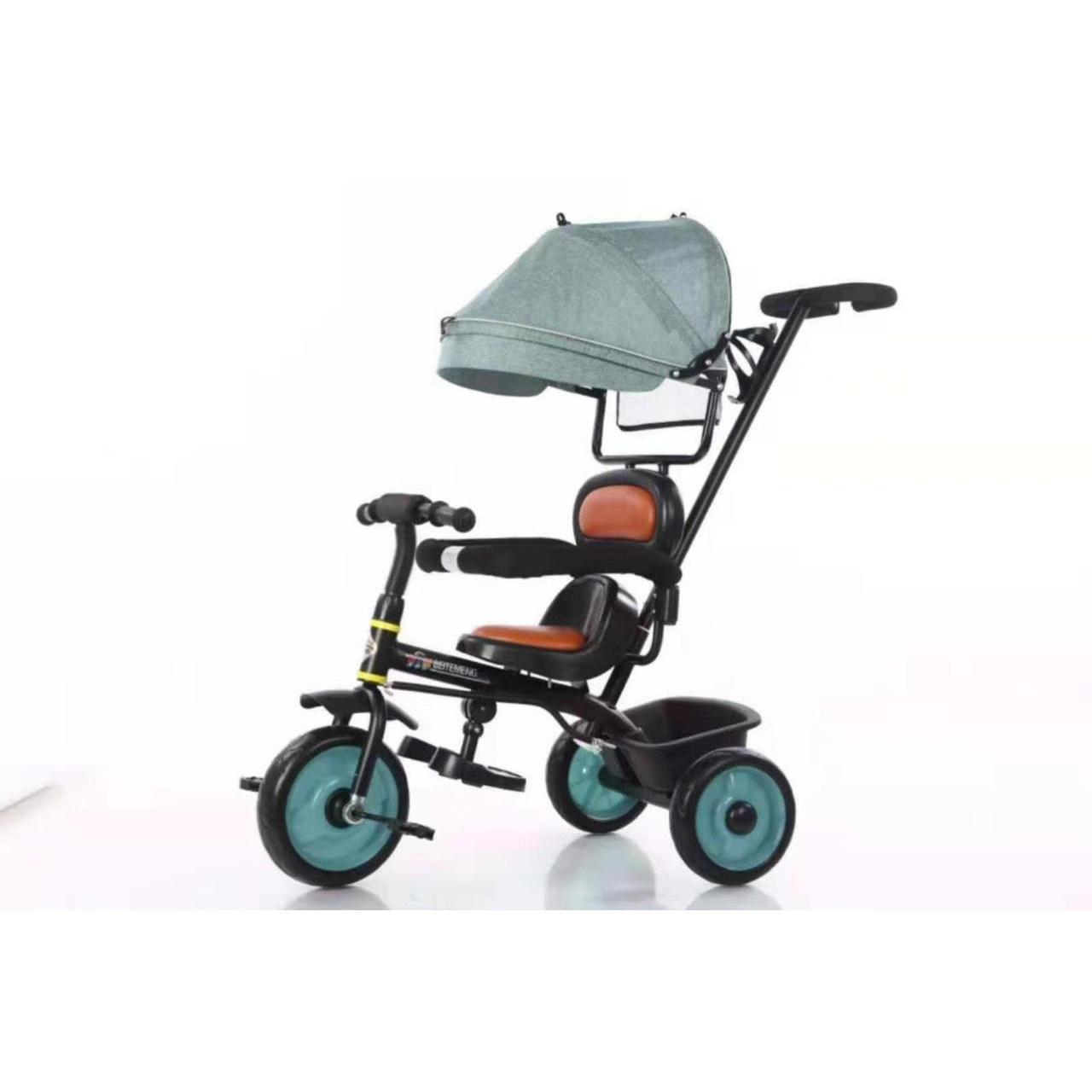 Xe 3 bánh tập đi cho bé có cần đẩy và mái che hàng cao cấp_XE51 (Giao màu ngẫu nhiên)
