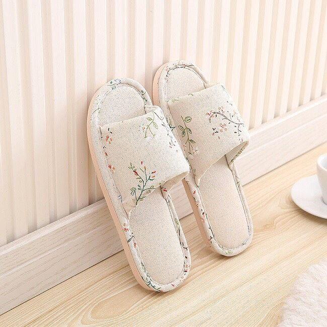 Dép bông đi trong nhà, dép nỉ trong nhà chống trơn trươt dành cho nam và nữ, dép vải họa tiết phong cách Hàn Quốc, siêu êm chân-DVKC