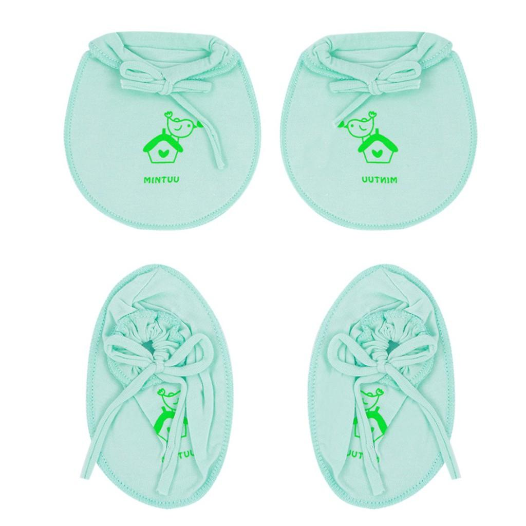 Combo 2 đôi bao tay bao chân viền màu bo sơ sinh Mintuu MT3061 (0-3 tháng)